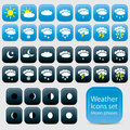 Day and night weather icons vector set collectio on blue black buttons isolated from background collections moon phases Royalty Free Stock Photos