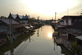 Day off for the floating market amphawa location on a monday Stock Images