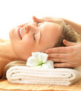 Day spa massaging and relaxation Stock Photo