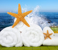 Day Spa Still-life Wtith Sea Salt and Starfish Royalty Free Stock Images