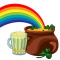 Day st patrick pot of gold under the rainbow and shamrock beer Stock Photos