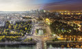 Day to Night View of Paris from the Eiffel Tower Royalty Free Stock Photo