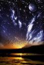 Day versus night nature landscape illustration Stock Image