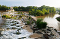 Day view of dam across ebro at logrono la rioja spain Stock Photography