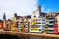 Day view of houses on the river bank in girona catalonia spain Stock Image