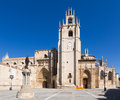 Day view of Palencia Cathedral from Inmaculada square Royalty Free Stock Photo