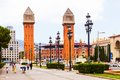Day view of plaza de espana with venetian towers barcelona spain june in june in barcelona spain it was built for the exposicion Royalty Free Stock Image