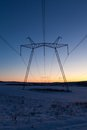 Daybreak above powerlines Stock Photos