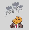 Daydreaming businessman is looking up to clouds raining with money Stock Images