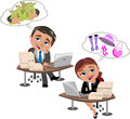Daydreaming at office desk illustration featuring businessman bob and businesswoman meg working with computer own and thinking or Stock Images