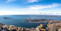 Daylight panorama of Nuuk city and surrounding fjords Royalty Free Stock Photo