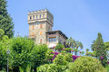 Daylight view to Rapallo castle with green trees Royalty Free Stock Photo