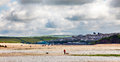 Daymer bay beach landscape in Cornwall UK Royalty Free Stock Image