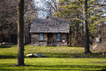 Days gone by restored pioneer cabin nestled in the woods port sanilac historical village port sanilac michigan Royalty Free Stock Photos