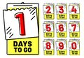 Days to go badges. Countdown badge, number of day left and going timestamp isolated vector illustration set