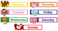 Days of the week with animals on the signs Royalty Free Stock Photo