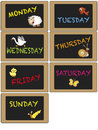 Days of week on blackboard Royalty Free Stock Image