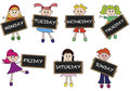 Days of week illustration with children Stock Photography