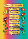 Days of the week with name plate.
