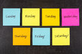 Days of Week Stick Notes Royalty Free Stock Photo