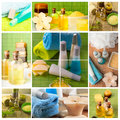 Dayspa concept spa collage bath oil aromatherapy candles soft towels Stock Images