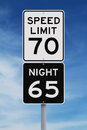 Daytime and nighttime speed limit signs Stock Photography