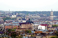 Daytime view of the lvov city panorama historic center ukraine Royalty Free Stock Photography