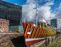 Dazzle ship liverpool uk april th a boat with 'dazzle' designs for the now ww centenary art commission liverpool biennial and Royalty Free Stock Photography