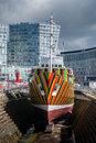 Dazzle ship liverpool uk april th a boat with 'dazzle' designs for the now ww centenary art commission liverpool biennial and Stock Photography