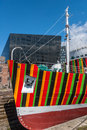 Dazzle ship liverpool uk april th a boat with 'dazzle' designs for the now ww centenary art commission liverpool biennial and Royalty Free Stock Images