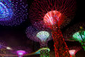 Dazzling light show at the supertree grove and marina bay in sin comes alive gardens by singapore nightly myriad of laser displays Stock Photos