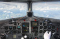 DC3 cockpit inflight dashboard view Royalty Free Stock Photo