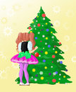 Décorez l'an neuf d'arbre de la fille s Images libres de droits