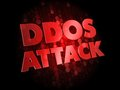 Ddos attack on dark digital background red color text Stock Photo