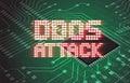 DDOS on a Digital Binary Warning above electronic circuit board