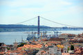 De abril bridge and alfama lisbon portugal ponte cross tejo river historical district from castle of são jorge castelo são jorge Royalty Free Stock Photography