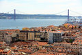 De abril bridge and alfama lisbon portugal ponte cross tejo river historical district from castle of sã o jorge castelo sã o Royalty Free Stock Photo