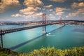 The 25 de Abril Bridge is a bridge connecting the city of Lisbon Royalty Free Stock Photo