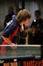De actie van het pingpong Stock Foto's