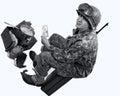 De amerikaanse militair toont een foto Stock Afbeeldingen