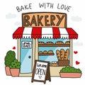 Bakery shop bake with love cartoon vector illustration