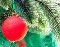 De bal van het rode nieuwjaar op een tak van een kerstboom op een groene achtergrond Stock Afbeeldingen