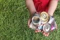 De Blikken van het aluminium die voor Recycling worden verpletterd Stock Foto's