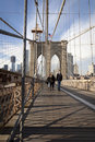 De Brug en Manhattan van Brooklyn met wolkenkrabbers Royalty-vrije Stock Foto