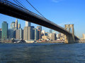De brug van Brooklyn en lager Manhattan, New York Stock Foto's