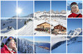De collage van de Alpen van de winter Stock Fotografie