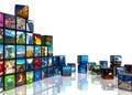 De collage van de foto van kubussen met beelden Stock Afbeeldingen
