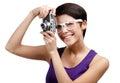 De creatieve vrouw overhandigt retro fotografische camera Royalty-vrije Stock Fotografie
