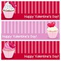 De dag horizontale banners van valentine s Royalty-vrije Stock Fotografie