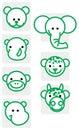 De dierlijke illustraties van de dierentuin Stock Afbeelding